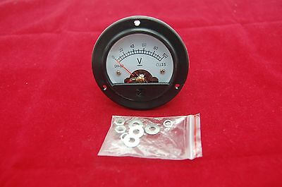 Dc 0-100v Round Analog Voltmeter Analogue Voltage Panel Meter Dia. 66.4mm Dh52