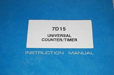 Tektronix 7d15 Counter Timer Instruction Manual 070-1433-00 3114h-1