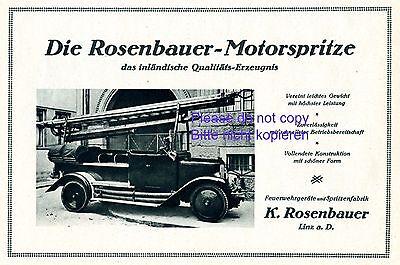 Feuerwehr Geräte Rosenbauer Linz Reklame 1927 Feuerwehrauto Drehleiter Werbung +