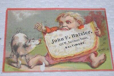 VINTAGE TRADE CARD JOHN F. BATZLER CO; CHINA, GLASS, TABLE CUTLERY BALTIMORE, MD