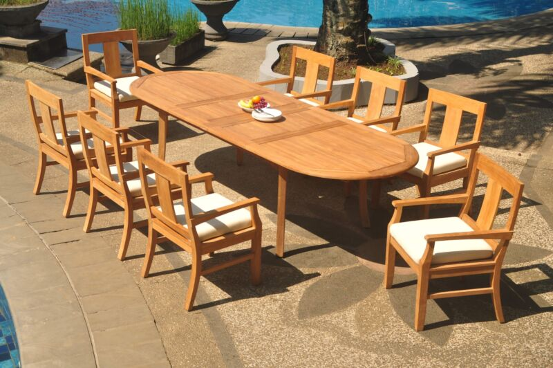 "9-piece Outdoor Teak Dining Set: 117"" Oval Extension Table, 8 Arm Chairs Osbo"