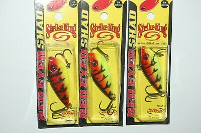 3 lures strike king red eye shad lipless crankbait  2