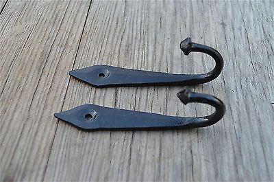 PAIR 4.5 INCH BLACK IRON ANCIENT ENGLISH DESIGN COAT HOOK DOOR HANGER HOOK OB4