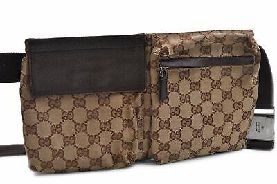 Authentic GUCCI Waist Bum Bag GG Canvas Brown 76390
