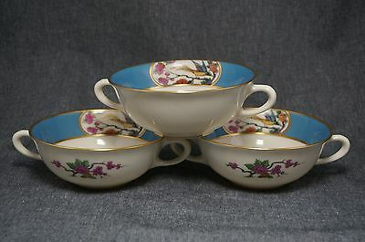 """Lenox """"MING"""" Bird #1934 CREAM SOUPS (3) - BLUE BAND Gold Stripe Design In & Out"""