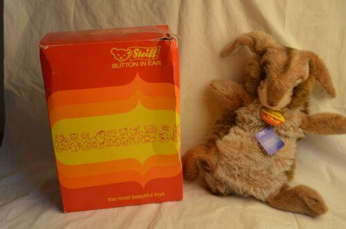 VINTAGE STEIFF BUNNY RABBIT HAND PUPPET JOLLY HASE 3481/40 W/BUTTON ORIGINAL BOX