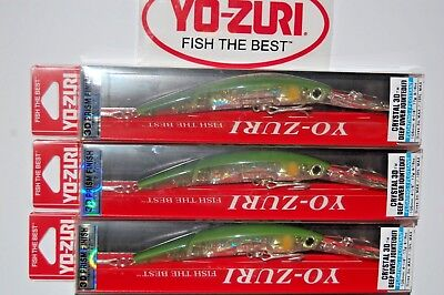"""3 lures yo zuri crystal 3d minnow joint deep diver 4 1//8/"""" f1159-ghcs chartreuse"""