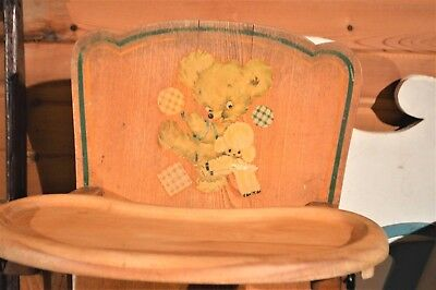 Oak High Chair - Cute! Vintage Oak Baby High Chair Adjustable Leg Support & Removable Tray 1950's