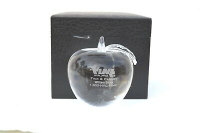 Beautiful Clear Crystal Paperweight Apple Figurine Advertising Fink   Carney Ny