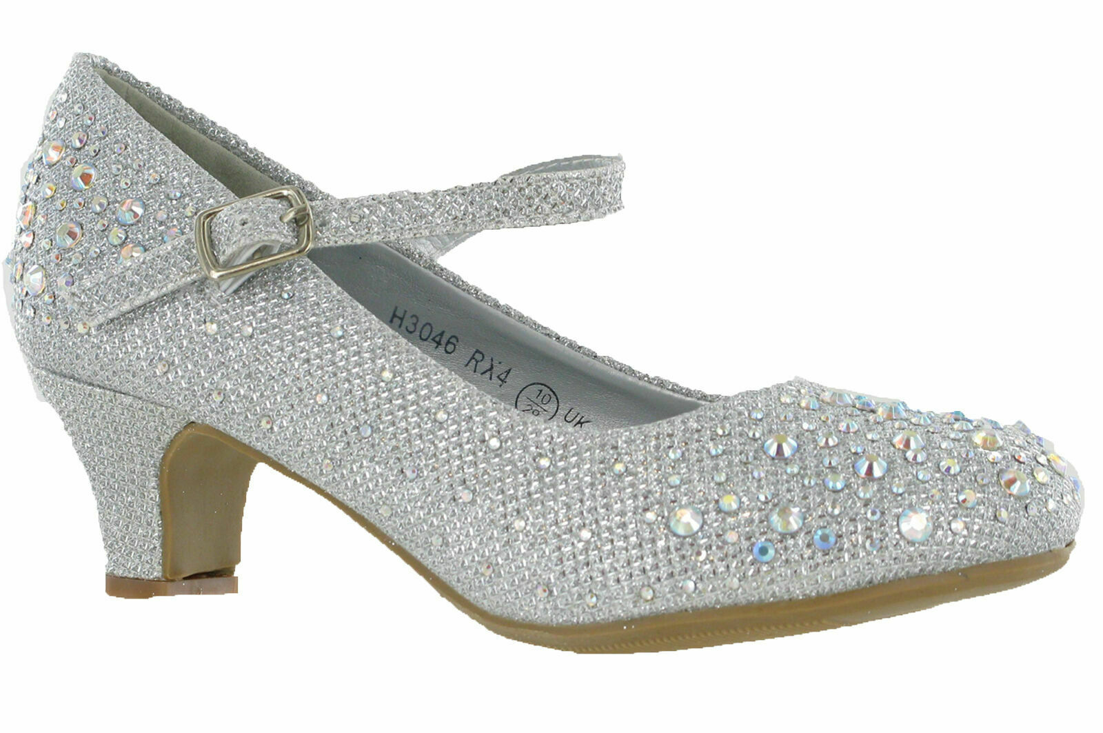 GIRLS GLITTER DIAMANTE BRIDESMAID WEDDING PARTY FANCY SHOES KIDS UK SIZE 10-4
