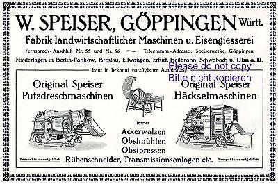 Maschinenfabrik Speiser Göppingen Reklame 1916 Mähdrescher Landwirtschaft +