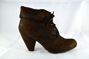Zapatos-mujer-botines-botas-tacones-altos-Marron-Zapatos-de-cordones-NUEVO-A-41