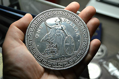 HUGE TRADE DOLLAR CHINESE COIN RESTRIKE MEDAL PAPER WEIGHT SILVER PLATED