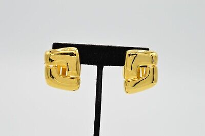Paolo Gucci Vintage Signed Clip On Earrings Yellow Gold Tone Geometric Chic Bin4