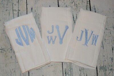 Personalized Baby Boys & Girls Burp Cloth set of 3  Monogrammed BurpCloth Custom