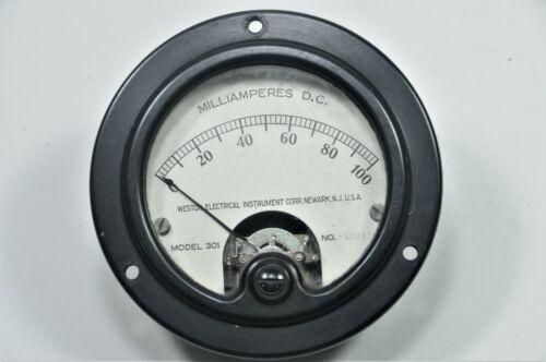 """Vintage WESTON 0-100 Miliamperes DC panel meter model 301 Round 3.375"""" (xs)"""