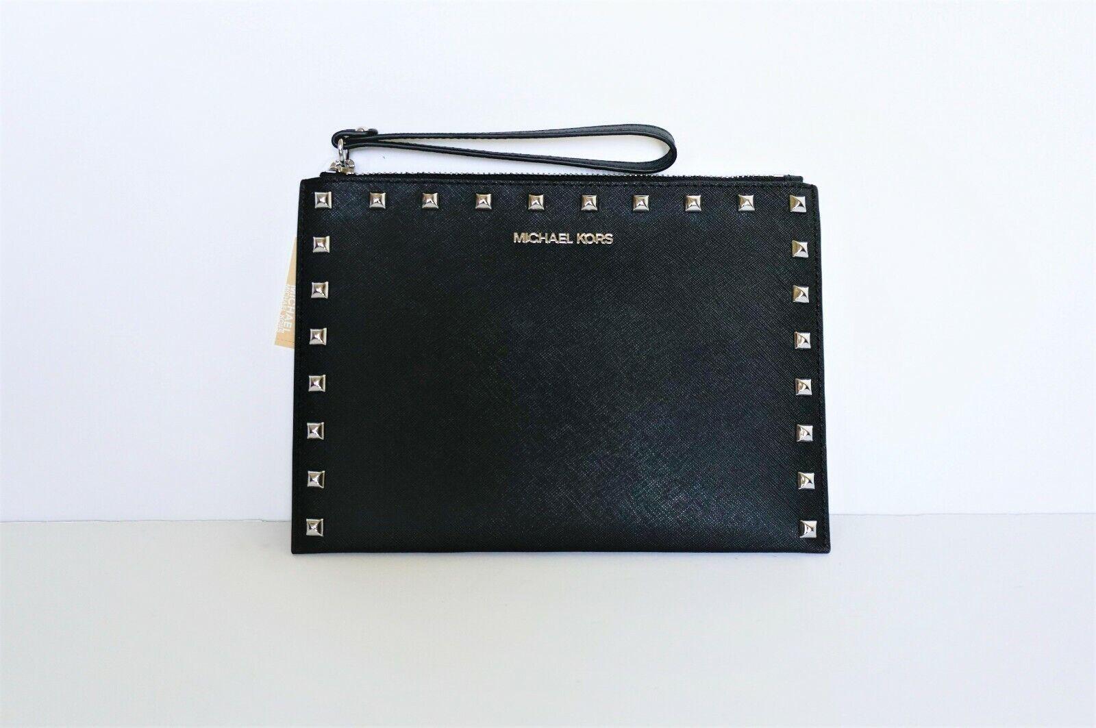 Authentic Michael Kors JET SET EXTRA LARGE Black Zip clutch/