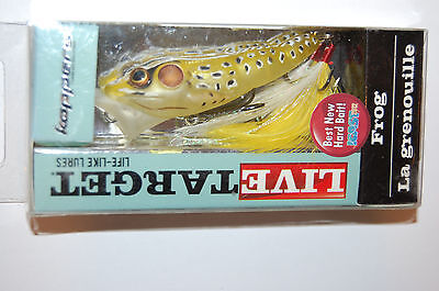 Koppers Live Target Surface Lure Bass Popper Frog 2 1 2  1 4Oz Ghost Yellow