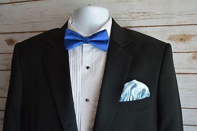 Mens Silk Pocket Square 100% Italian Silk Puff Free Shipping Royal Light Blue