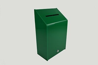 Collection Box Suggestion Box - Green Acrylic - Lockable - PDS9463 XGreen