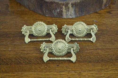 Lot of 3 Antique Set Brass Dresser Drawer Pulls Handles