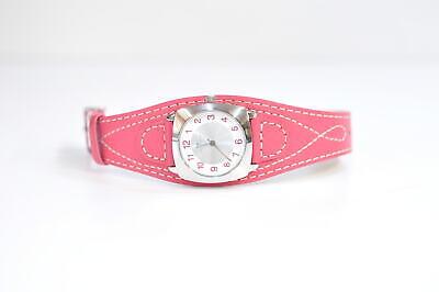 Tom Tailor Damen Armbanduhr Silber Rot Lederarmband 17-IP2248/355