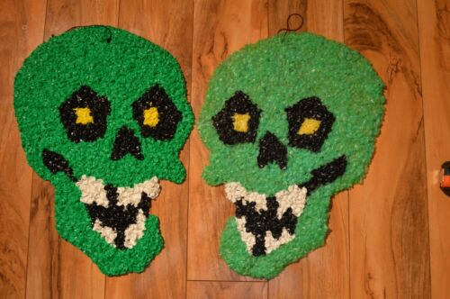 Lot of 2 Vintage Melted Plastic POPCORN Decoration Halloween Green Skull