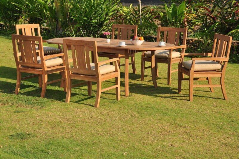 "Sale Osborne A-grade Teak Wood 9pc Dining 94"" Oval Table 8 Arm Chair Set Outdoor"