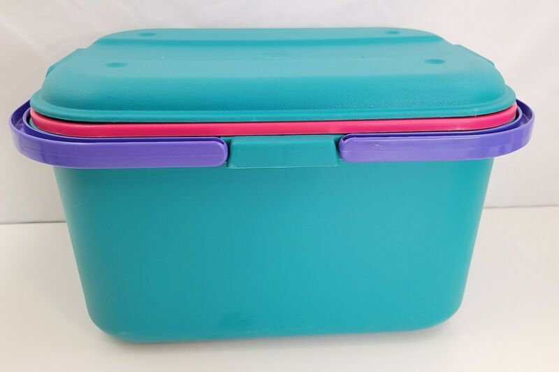 """Eagle Craftstor Sewing Tote Box Scrapbook Craft Bucket 90s Purple Teal Pink 15"""""""