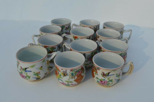 RARE12 ANTIQUE HAND PAINTED CHINESE/CHINA EXPORT FAMILLE ROSE PORCELAIN TEACUPS