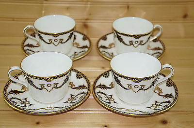 """Royal Crown Derby Majesty (4) Cups, 2 5/8"""" & (4) Saucers, 5 7/8"""""""