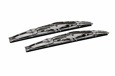 16 Inch Chrome Double Dual Blade Universal Windshield Wiper 2PC Set All Season