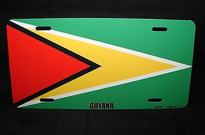 Guyana Flag Novelty License Plate For Cars The Golden Arrow Head Guyanese Flag