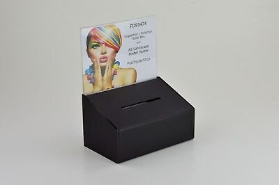 Suggestion / Collection Box with A5 Landscape Poster Holder PDS9474 MattBlackA5L