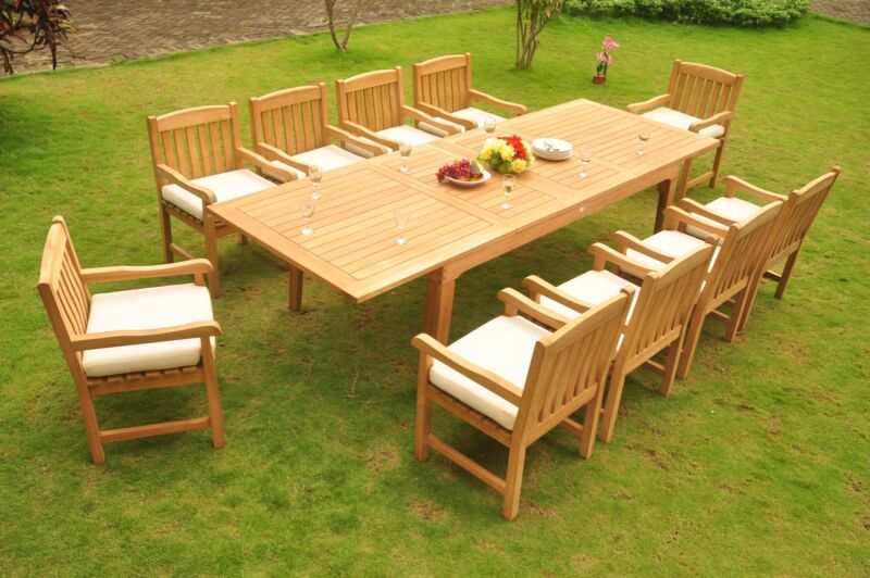 "11-pc Outdoor Teak Dining: 122"" Rectangle Extension Table, 10 Arm Chairs Devon"