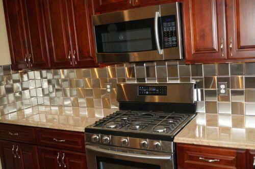 4x4 Stainless Steel Tiles $19.95/SF Kitchen Back Splash Tile 9-Tile (Hollow Back