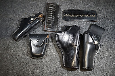 Lot Leather Gun Holster Bullet Holder Hand Cuffs Case SW Jay-Pee Don Hume NYPD