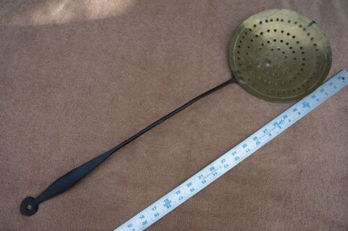 """Wrought Iron and Brass Hearth / Kitchen SKIMMER - Circa 1850 - LARGE 27"""" Long"""