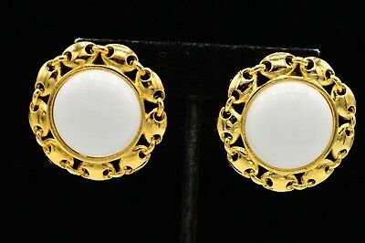 Paolo Gucci Signed Statement Earrings Clip On White Beaded Gold Vintage 80s 9C