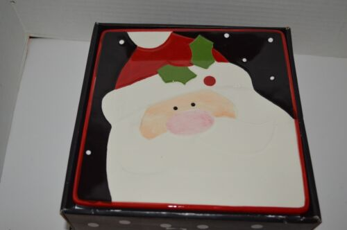 Christmas Cut-Outs Ceramic Santa Square Christmas Holiday Desert Plates Set 4