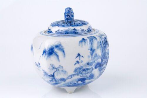 19th Century Japanese Kutani Blue/White Landscape Pattern Incense Burner, Signed