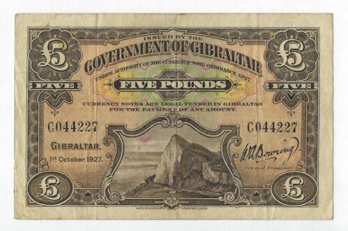 1927 GIBRALTAR 5 Pounds, P-13 Rare 1st Date, Only 50,000 Printed, 100% Orig VF.