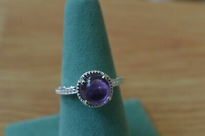 2.75ct Amethyst Cabochon Ring Sterling Silver Size 8 ~ Nice  9mm