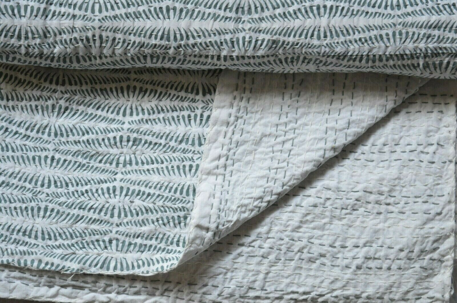 twin size floral hand block kantha quilt