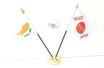 Cyprus & Tokyo Japan Olympics 2020 Desk Flags & 59mm BadgeSet