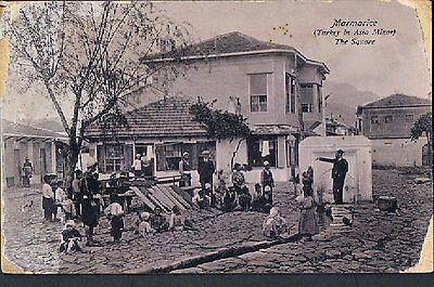 MALTESE POSTCARD ANIMATED VILLAGE SQUARE MARMARIS TURKEY 1910