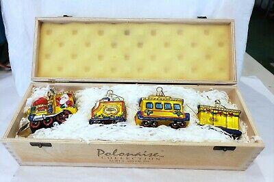 Polonaise Kurt Adler Santa Express Train Christmas Ornament Wood Box 4 Piece Set