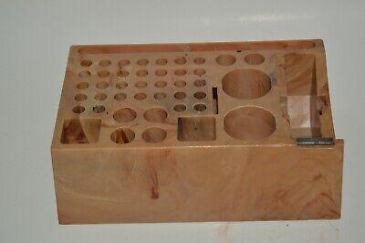 Vintage Marbled Plastic 1960s Desk Organizer Tape Dispenser Artist Pen Holder