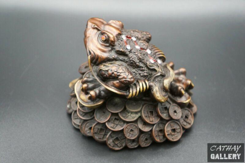 Bronze Big Frog Sitting on Old Coins