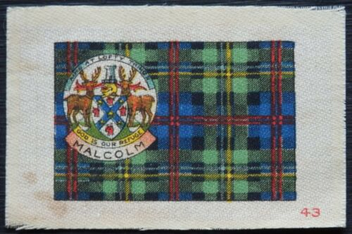 MALCOLM Clan Tartan and Coat of Arms SILK card issued in 1922